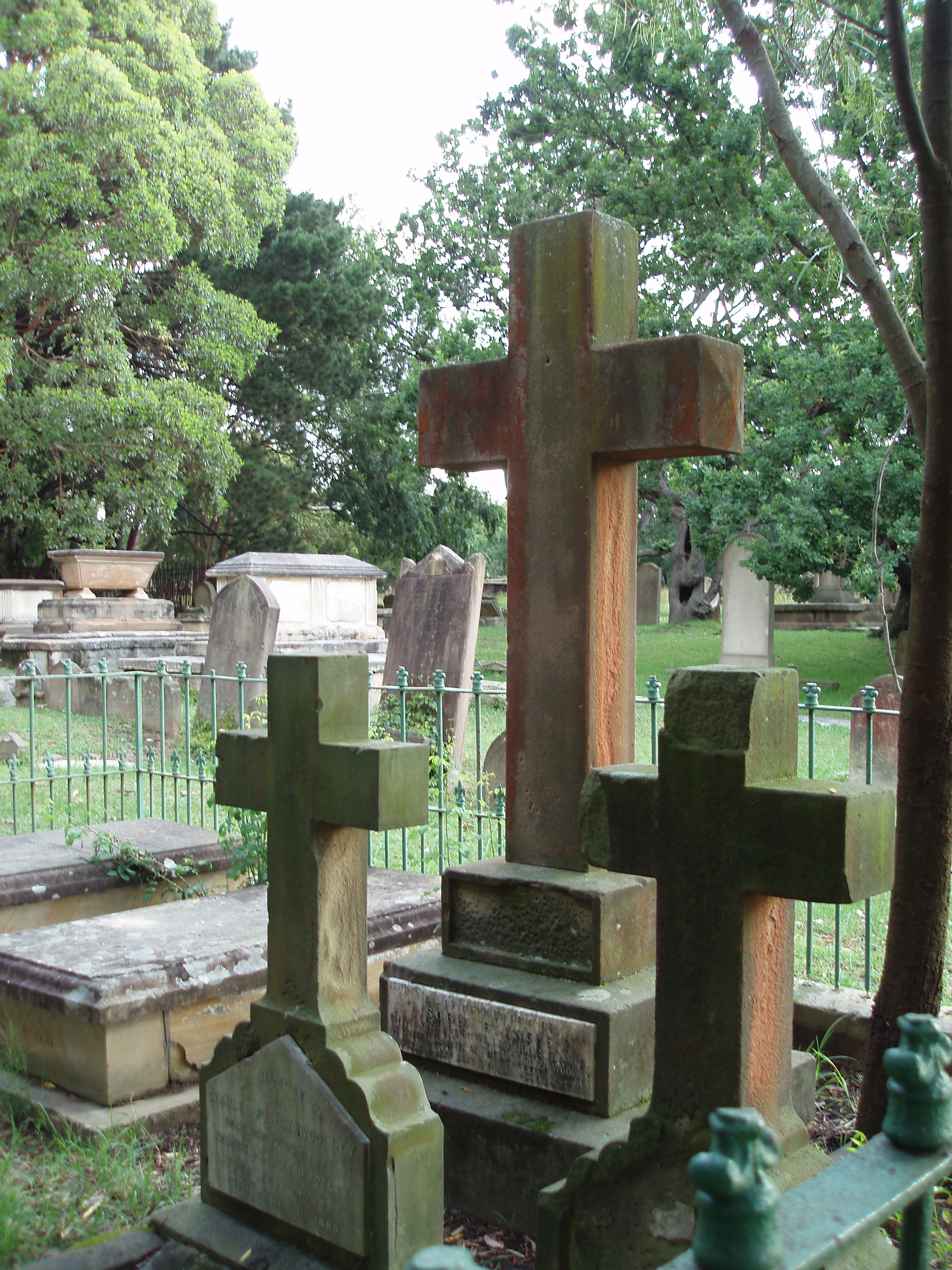 a trio of graves and headstone crosses