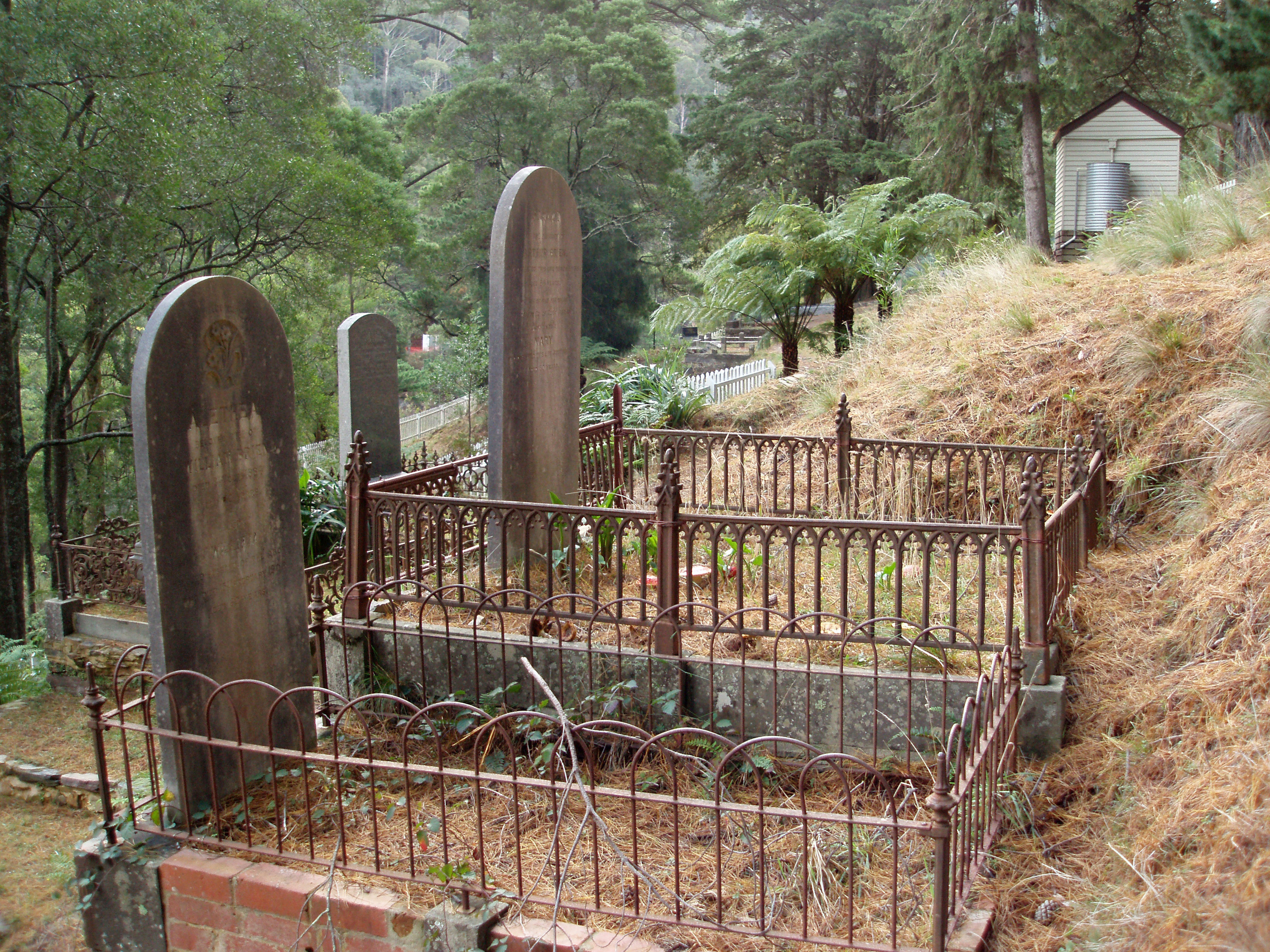 graves and headstones in an historic  graveyard, walhalla