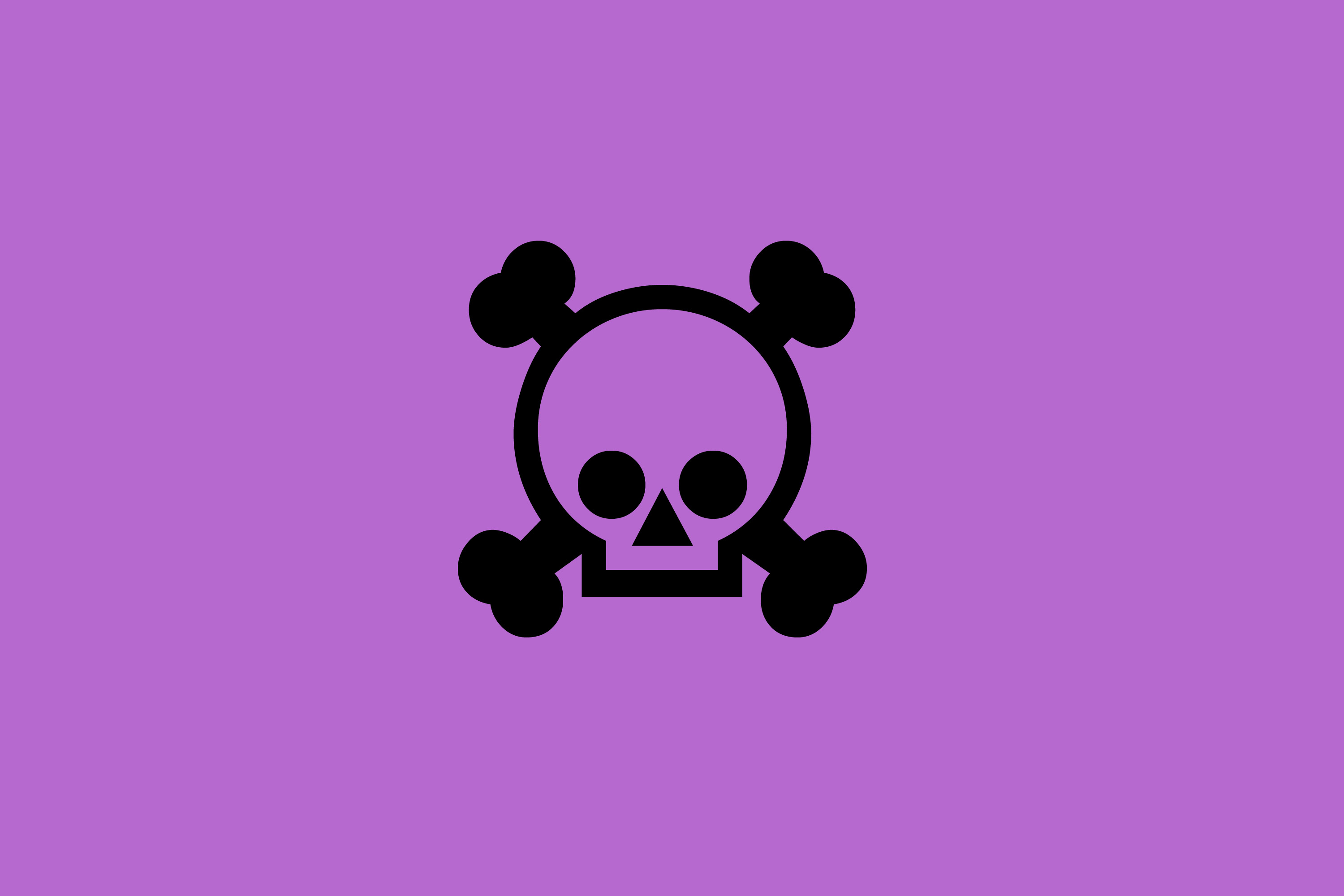 modern cartoon style skull illustration on purple