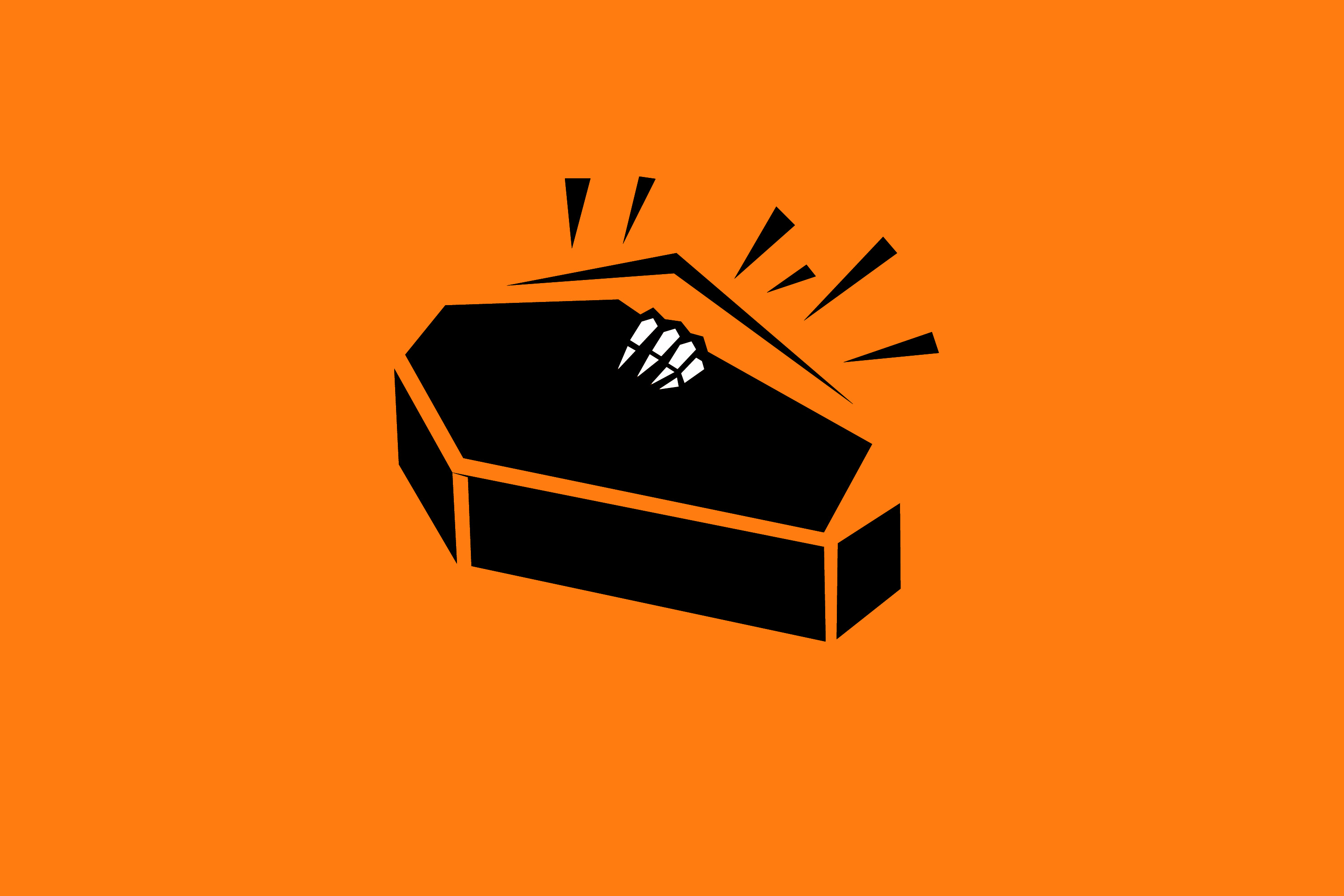 a creepy skeleton hand coming from inside a coffin on halloween orange background