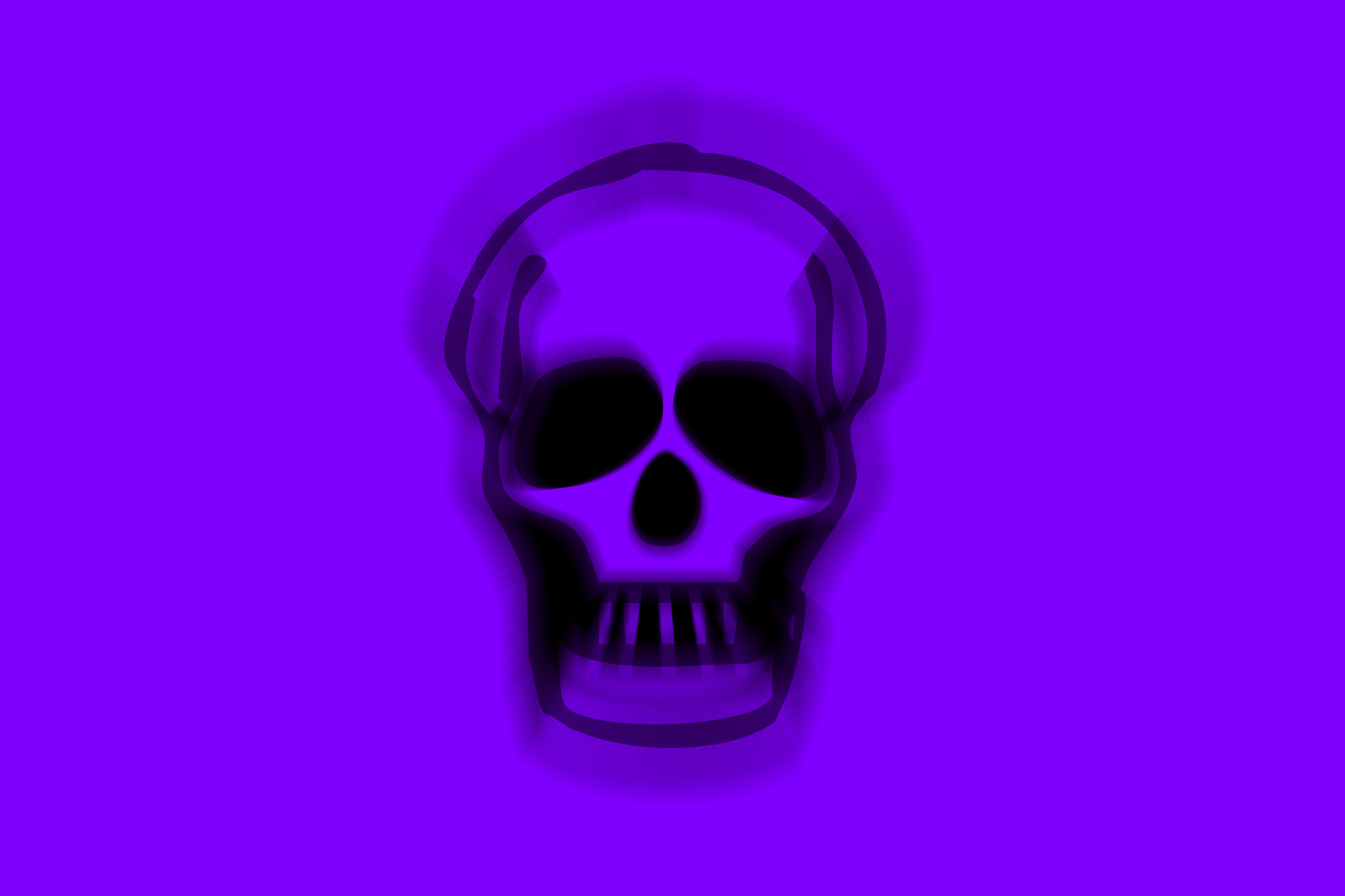 moving skull on a purple background