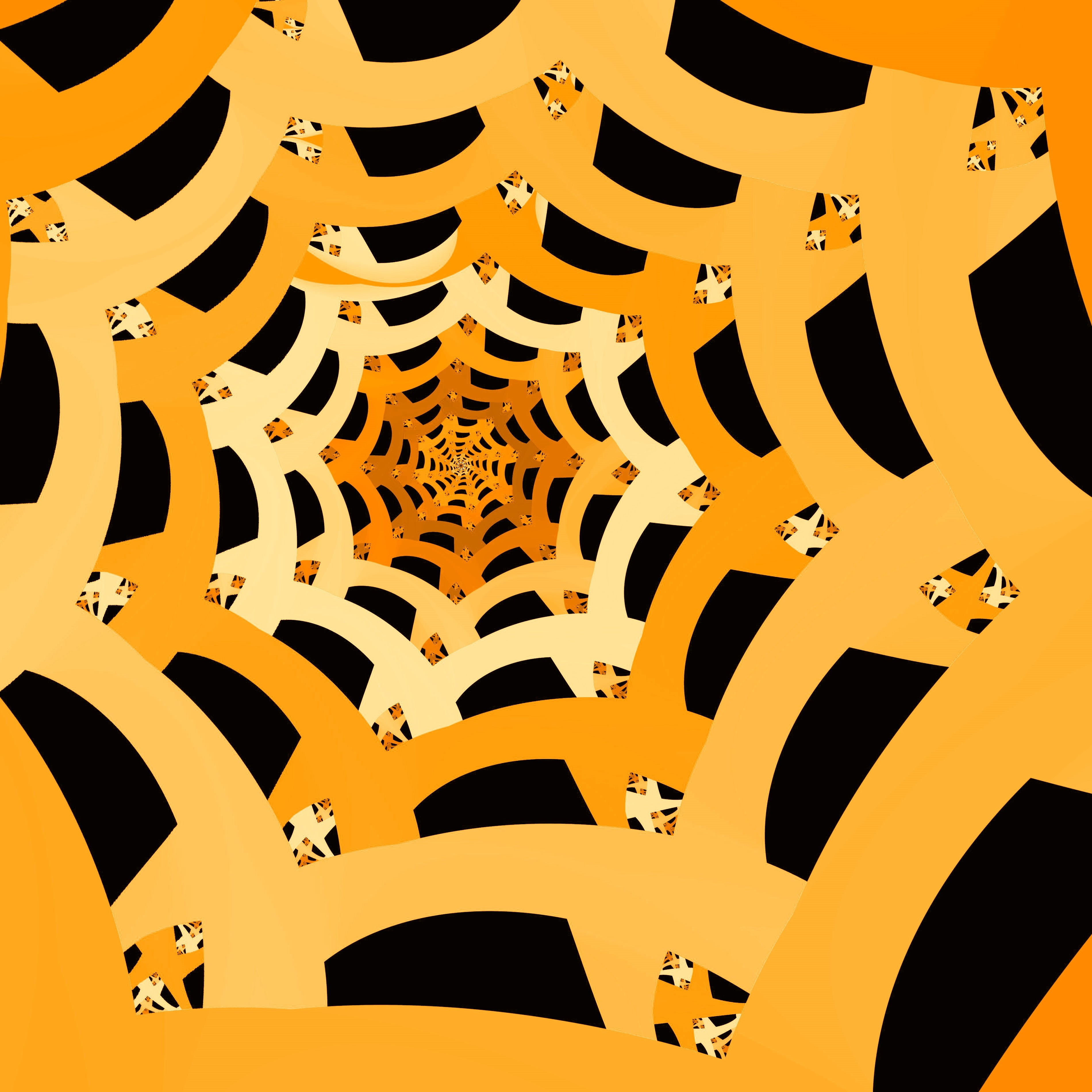a digitally generated spiders web pattern in orange