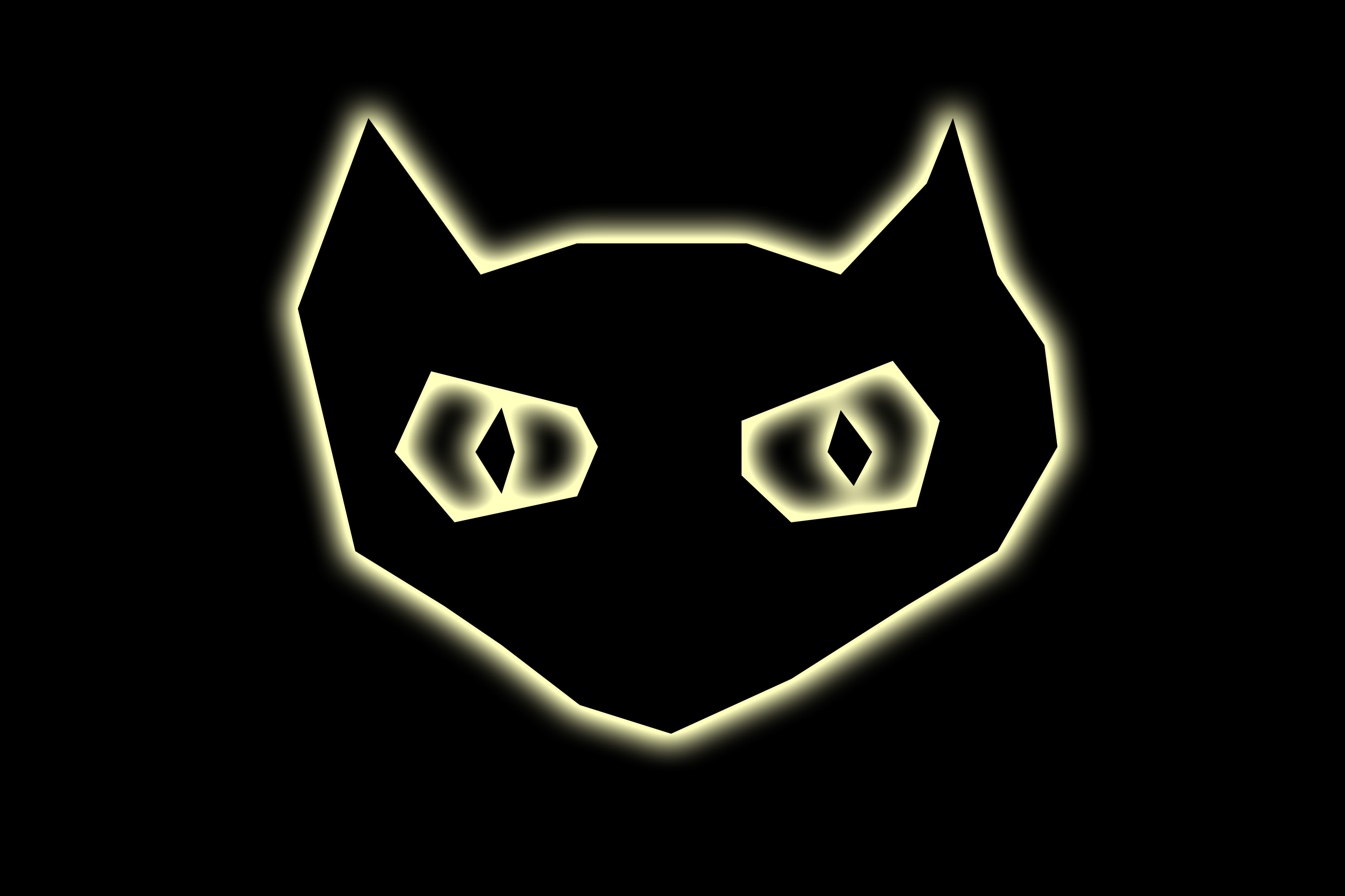 creepy cat face with glowing edges