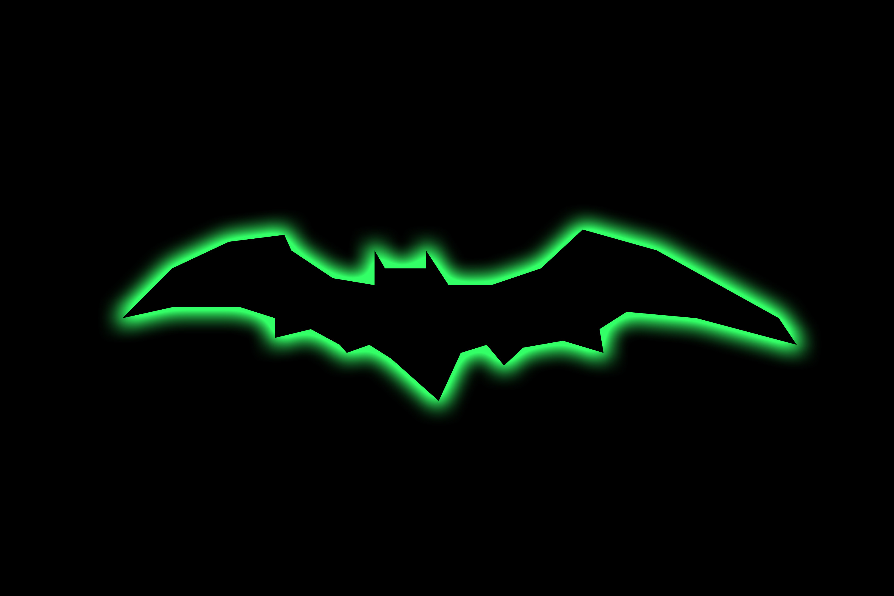 bat clipart with green glowing edges