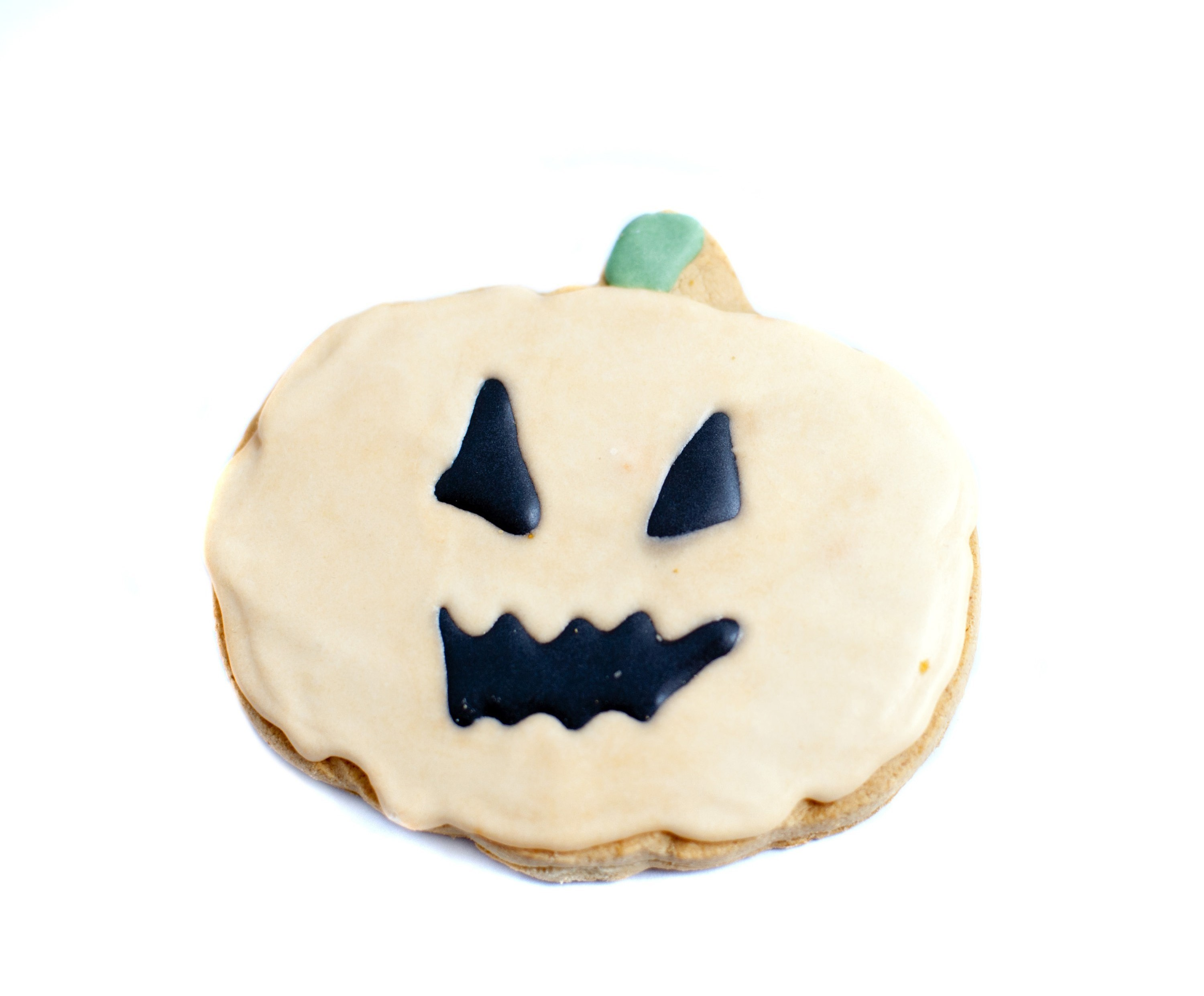 sweet treat for halloween a icing decorated pumpkin shaped biscuit