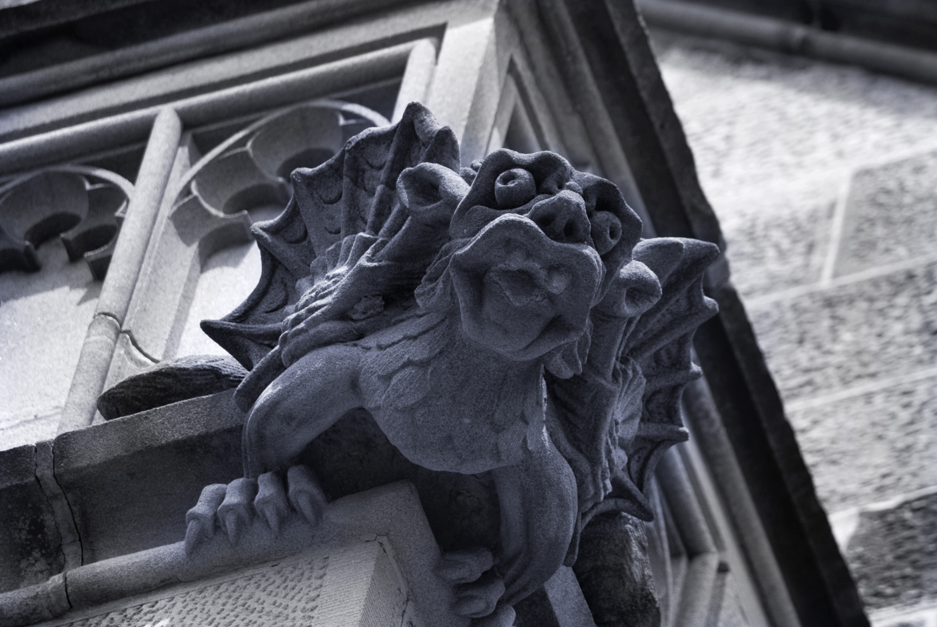 grotesque stone chimera decoration