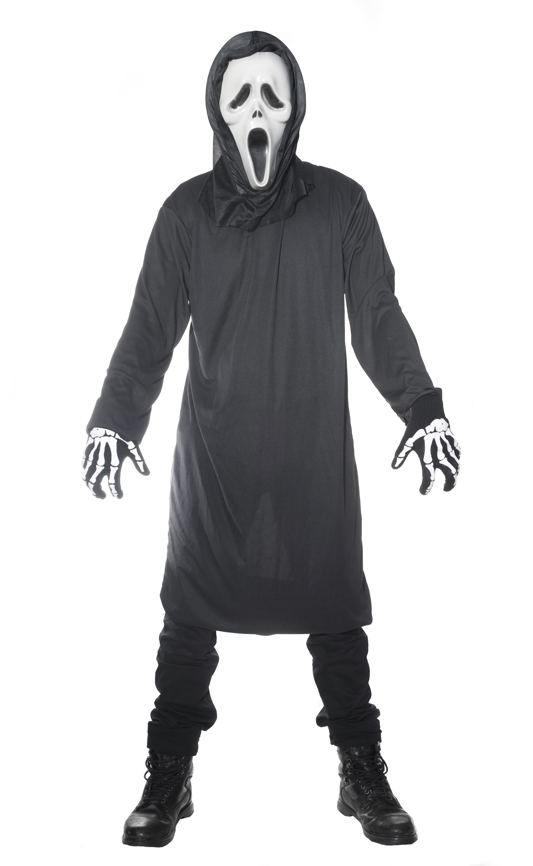 black halloween party costume with a scream ghostface mask