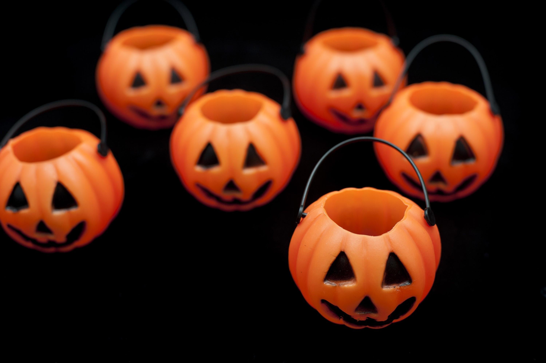 Image of Group of orange pumpkin jack-o-lanterns ...