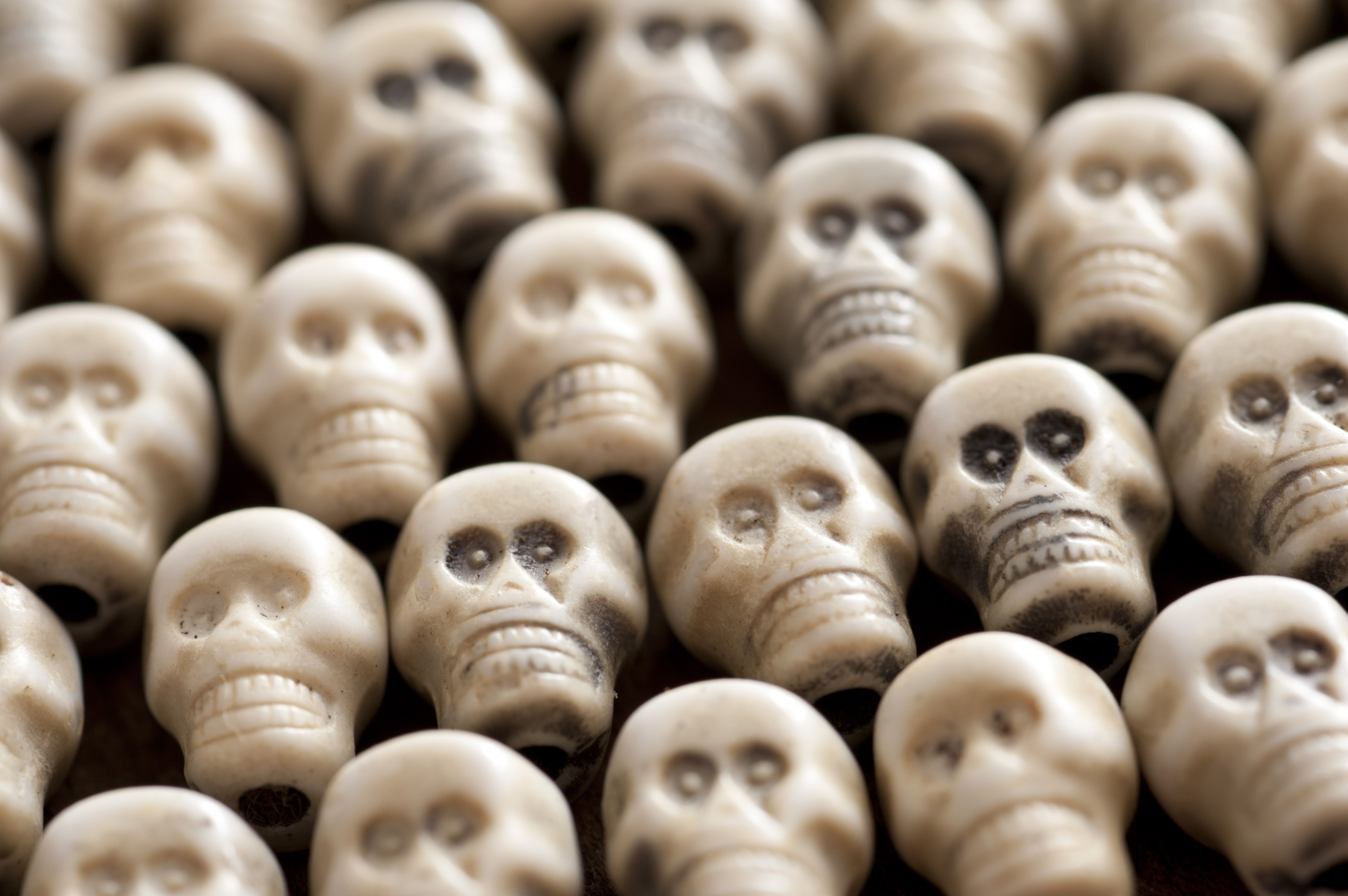 Hallowee  background of multiple white toy plastic skulls packed closely together viewed low angle with shallow dof