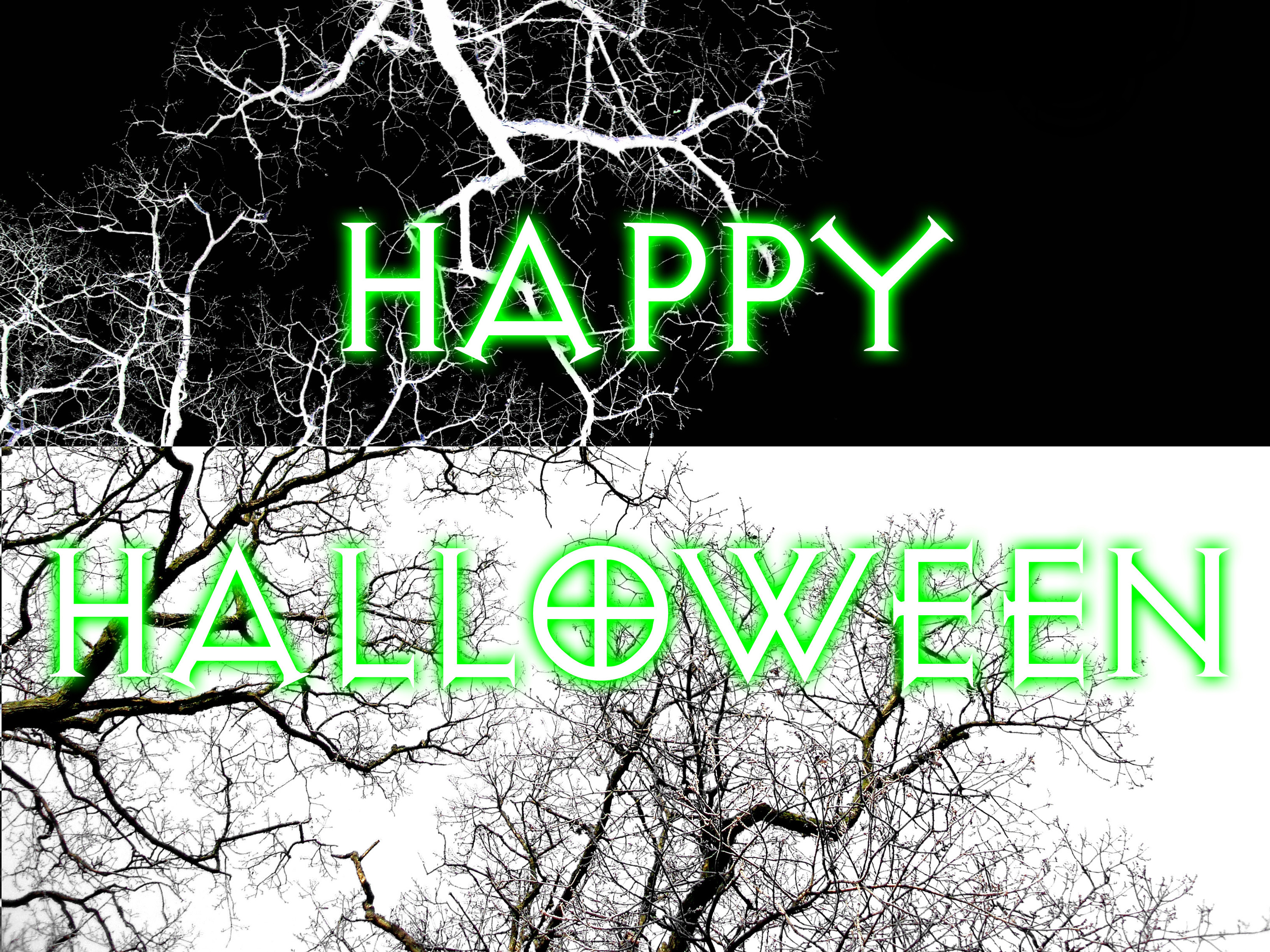 creepy black and white / negative tree with text 'happy halloween'