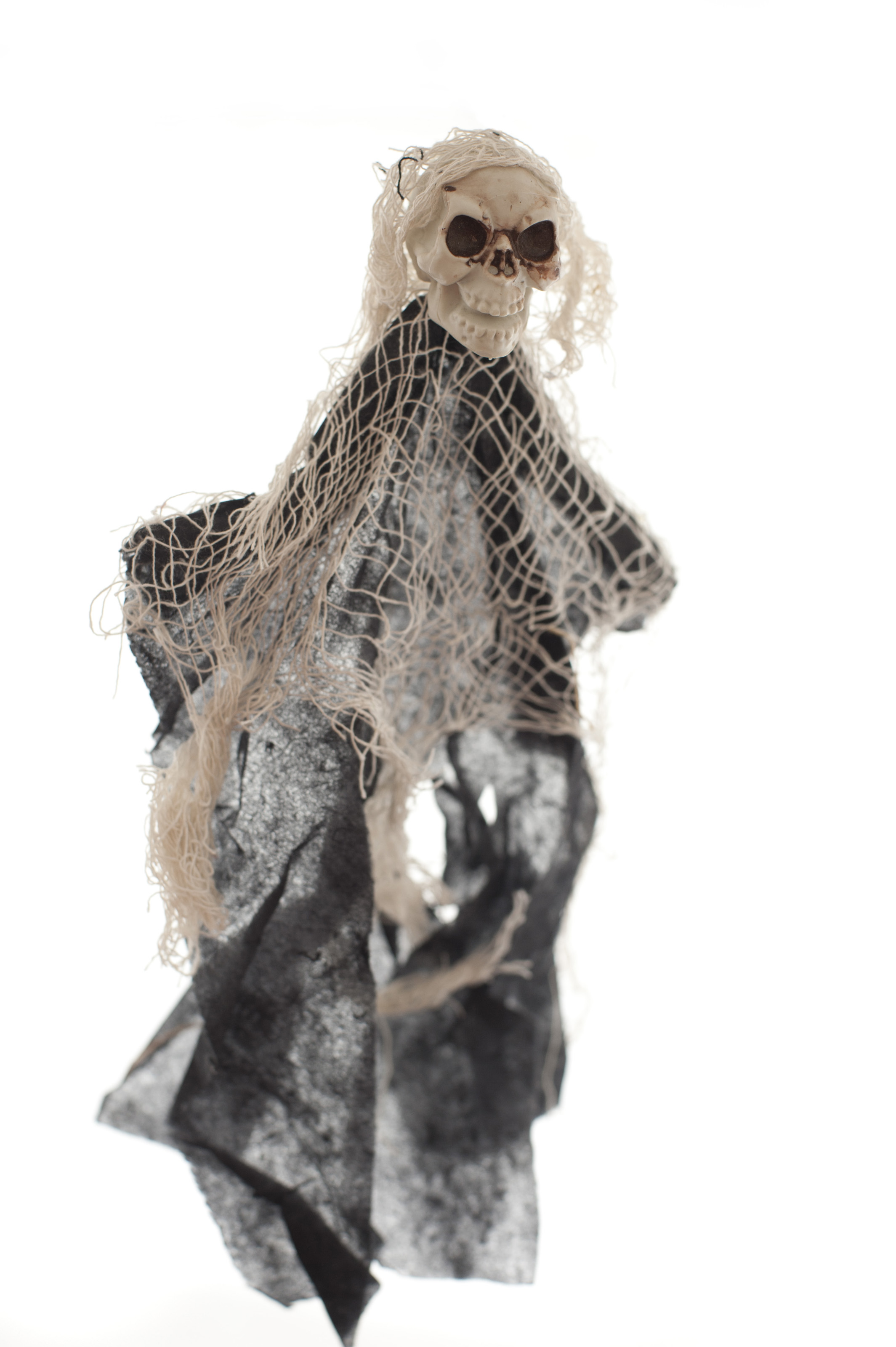Skull with scraggly hair as Halloween spirit with netting and dark dress puppet over white background