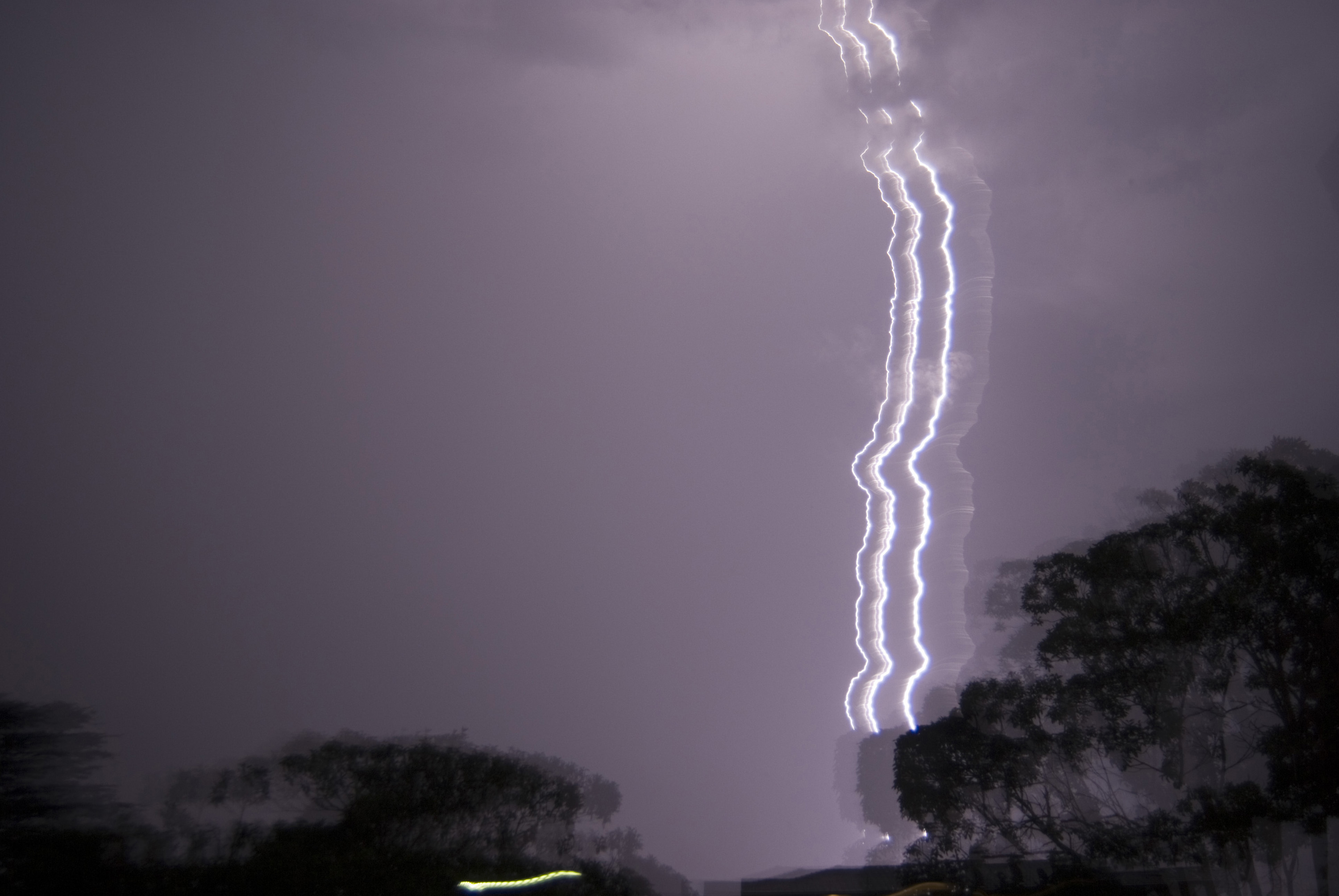 stormy lightning bolt with motion blur