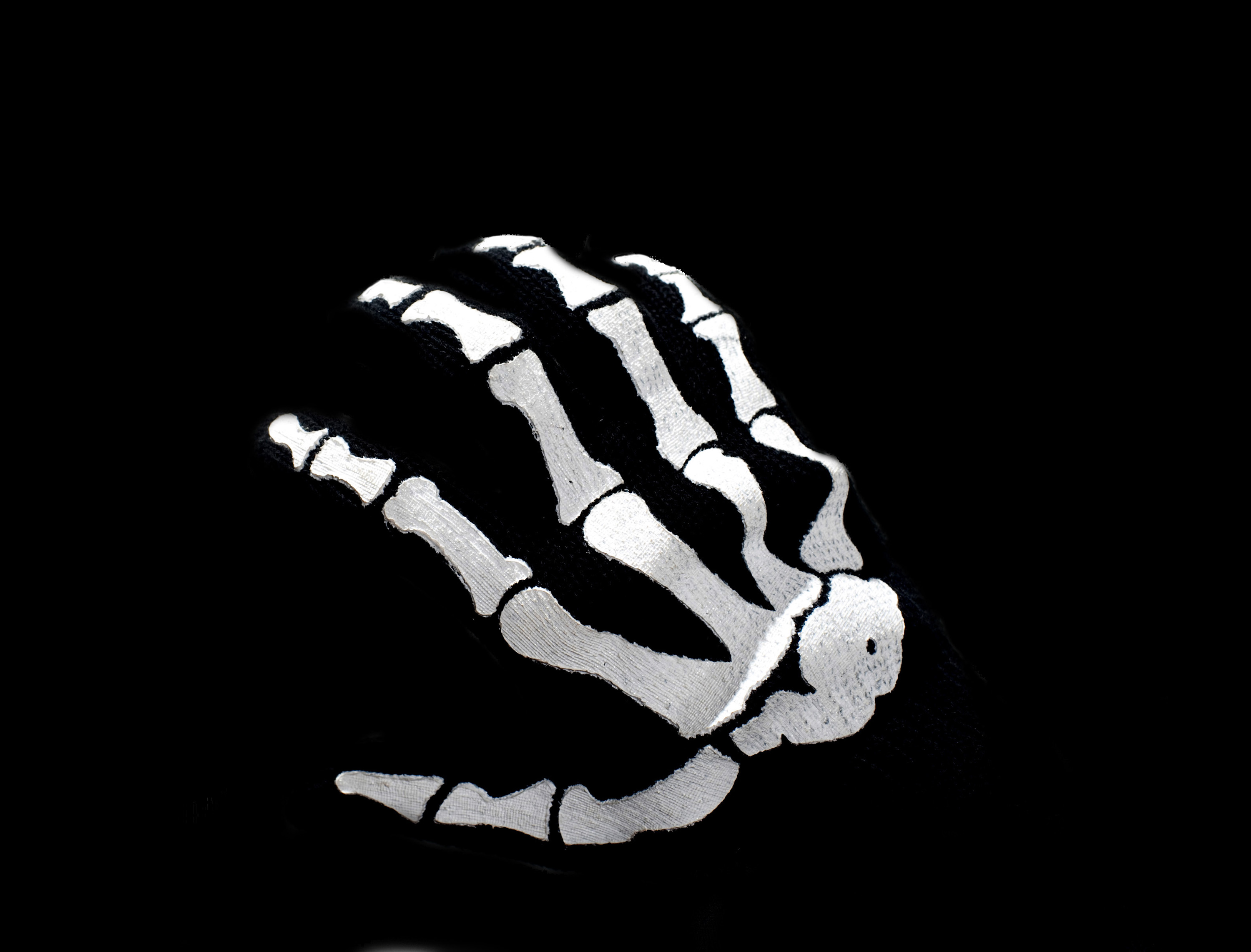 an isolated skeleton hand on black background