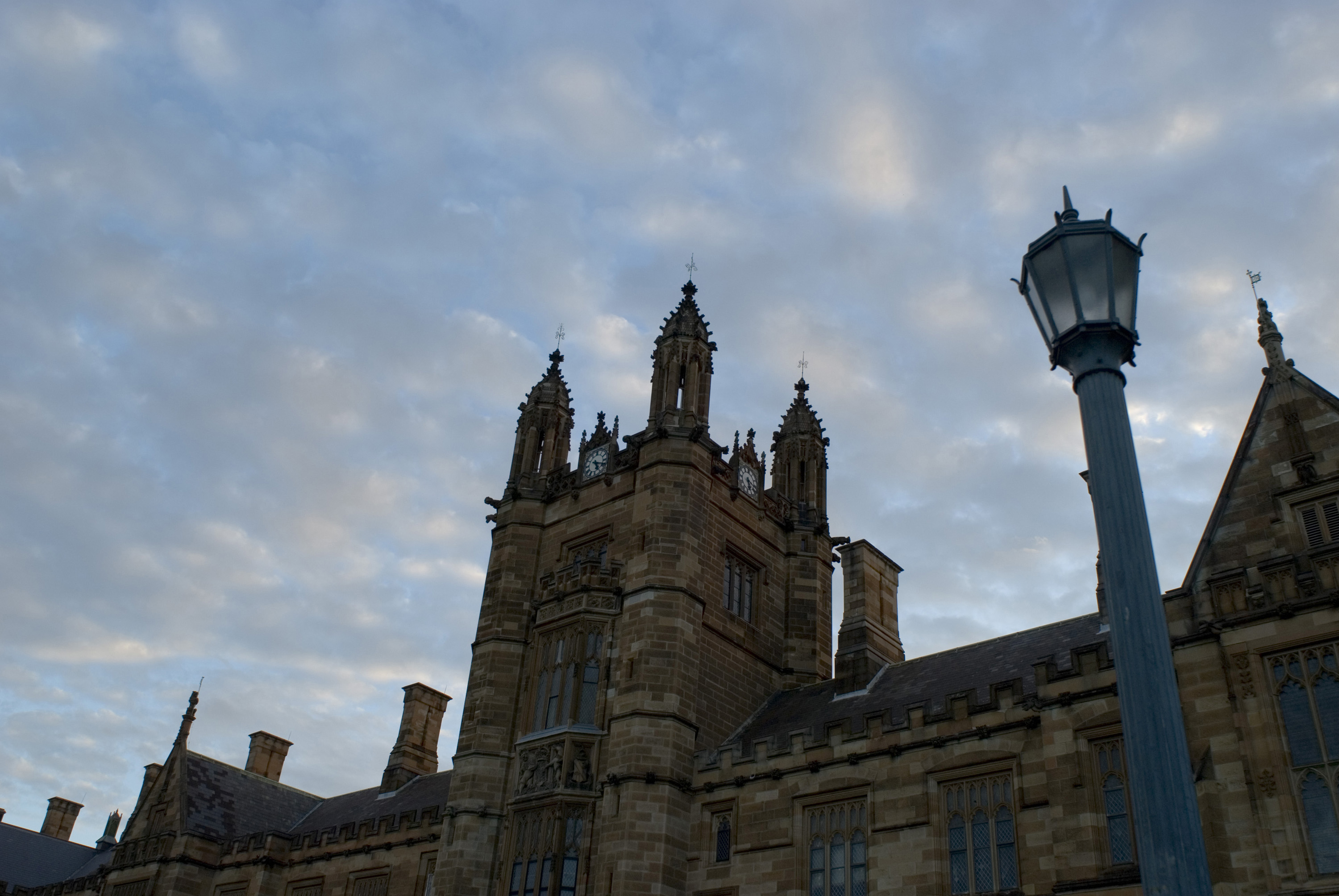 creepy looking shot of gothic revival university building