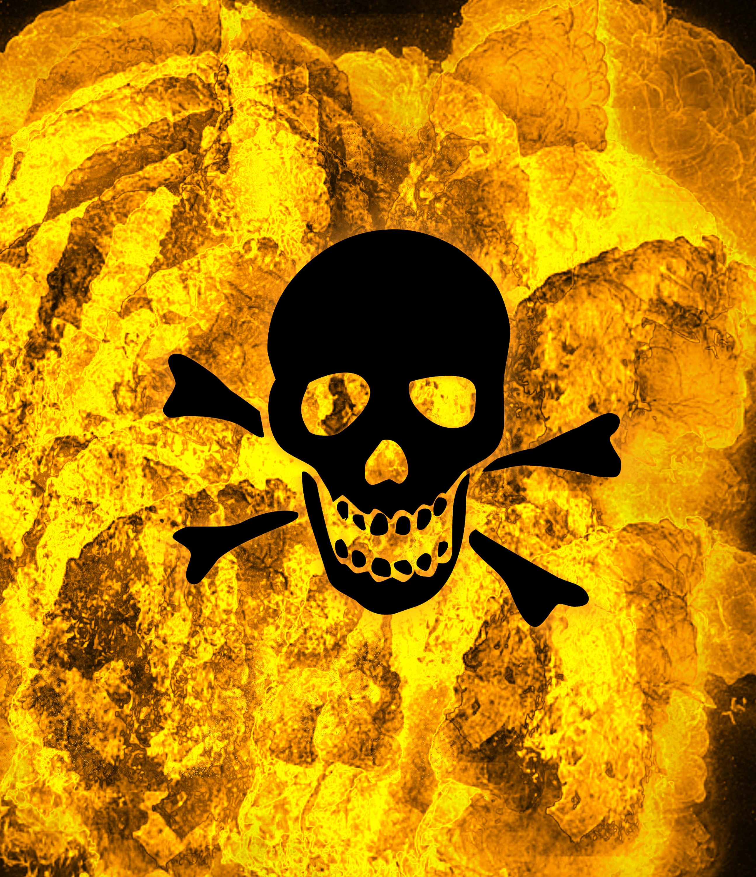 a skull and bones on an orange exploding background