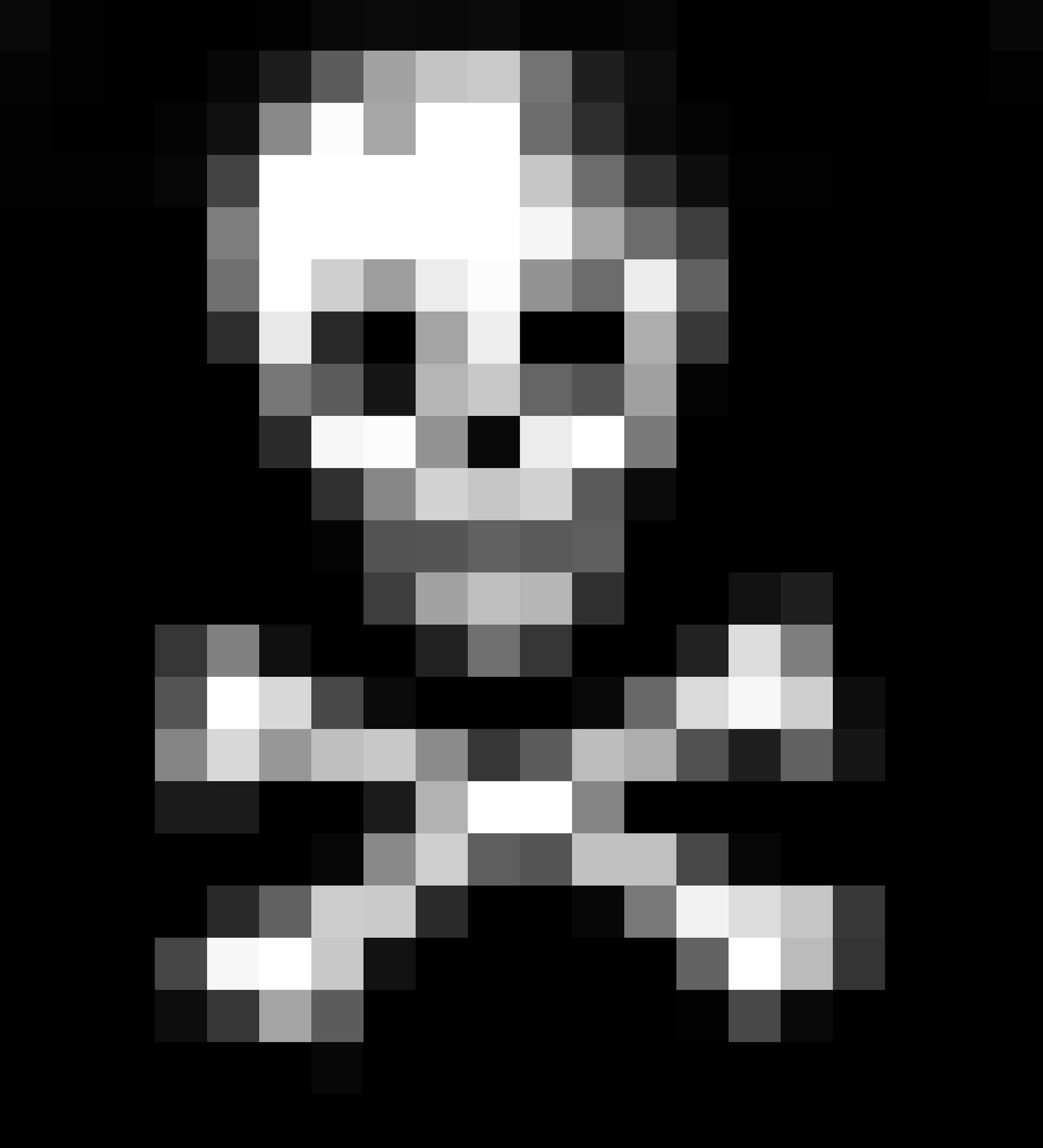 skull shape in an 8bit style digital image with large pixels