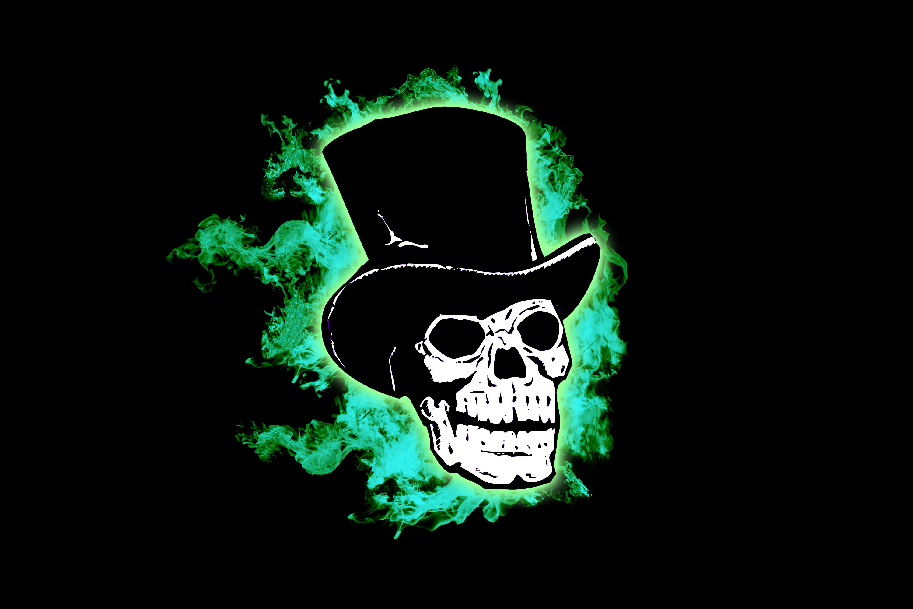 skull in a wearing a black top hat, with green ghostly flames